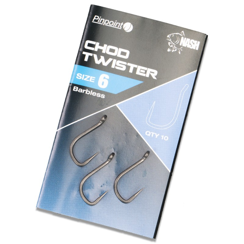 Pinpoint Chod Twister Barbless Carp Hooks Pack of 10