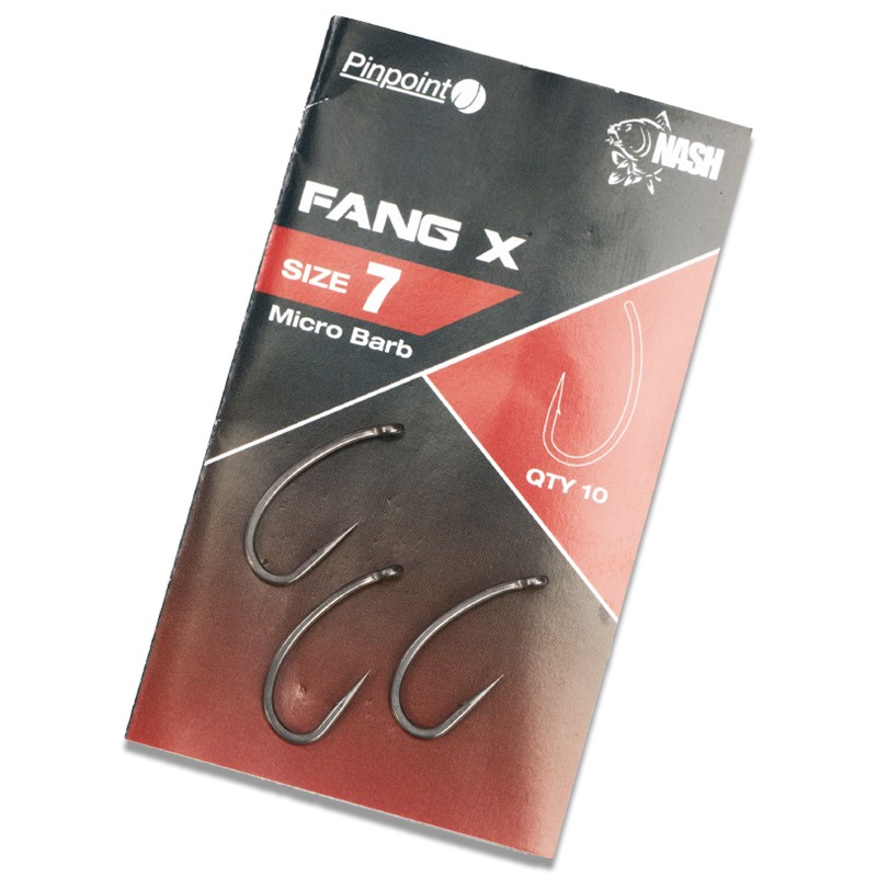 Pinpoint Fang X Micro Barbed Carp Hooks Pack of 10