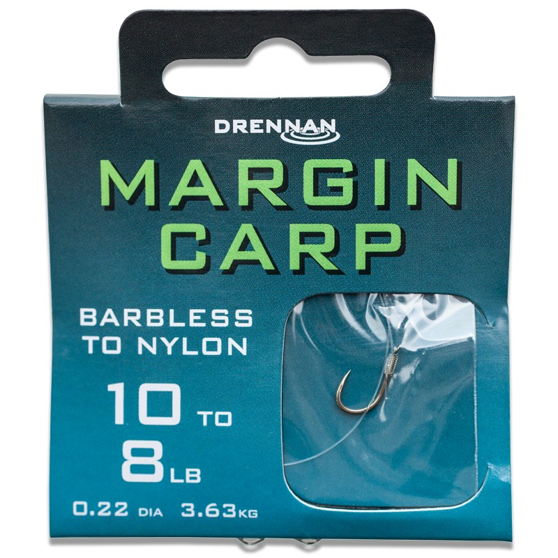 Barbless Margin Carp Hooks To Nylon Pack of 8