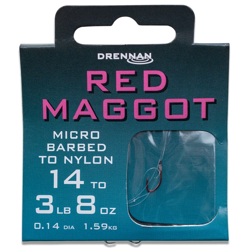 Micro Barbed Red Maggot Hooks To Nylon