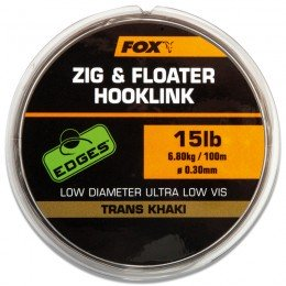 Edges Zig & Floater Hooklink Trans Khaki 100m