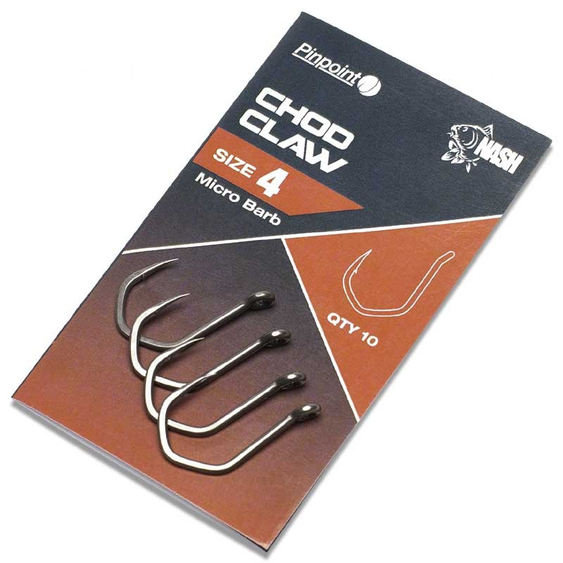 Pinpoint Chod Claw Barbed Carp Hooks Pack of 10