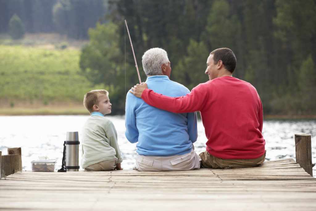 Father, Son and Grandfather fishing together